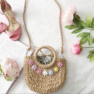NWOT Straw Bag W/ Floral Cabochons